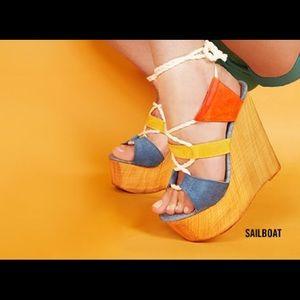 Steve Madden Sailboat Wedge Sandals NWOT